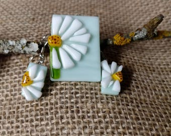 3D Dandelion Flower Pendant and Earrings