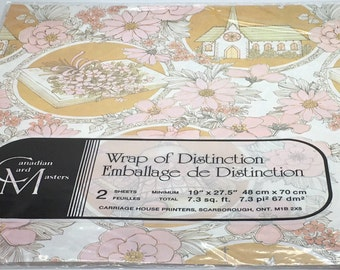 Vintage Wedding Gift Wrap Wrapping Paper Wedding Chapel Church Bells Flowers  Pink Book Bouquet Marriage Made In Canada 2 Sheets