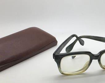 Vintage Metzler Green Brown Translucent   Eyeglasses Frame Horn Rimmed Glasses Masculine Men's 495 Nerd Geek Hipster MCM 50s