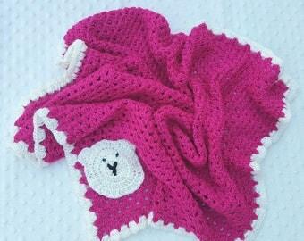 Crochet Blanket, Pink Crochet Blanket,knitted blanket, A H Baby Boutique, Baby Shower Gift, Knit, Pram Blanket, Bassinet Blanket