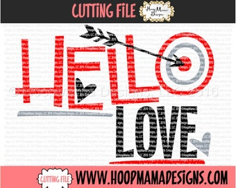 Hello Love SVG DXF eps and png Files for Cutting Machines Cameo or Cricut - Boy Valentines Day