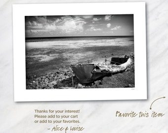 Boca Chica Cuban Refuge Boat, Boca Chica, Florida. Signed 12x18 Black & White Fine Art Photo Matted to 18x24