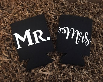 Mr and Mrs Black Can Coolers - Custom Can Coolers - Wedding Gift - Bridal Shower Gift - Engagement Gift