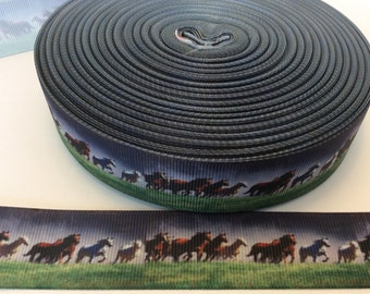 Horse grosgrain Ribbons,horse riding ribbons, equine ribbons, farm Ribbons,  1 inch Grosgrain ribbon, perfect for hairbows, scrapbo