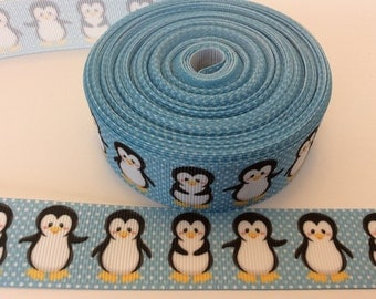 Penguin  grosgrain ribbons, arctic ribbons,baby boy ribbons, animal ribbons, 1 inch Grosgrain ribbon, perfect for hairbows, scrapbooking and