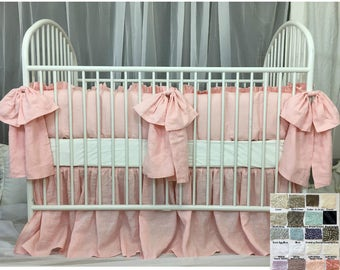 Baby Crib Bedding Set with Large Bow and Sash Ties ––White, Grey, Cream, Pink, Blue, Stripe, Chevron, 40+ colors, Custom Size, Custom Made