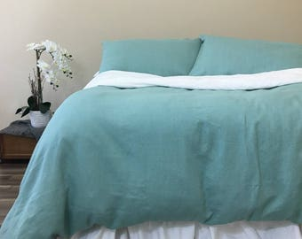 Moss Green Linen Duvet Cover, Warm and Cozy!