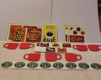 Free Shipping!  Calling Coffee Lovers!  Stickers, Die Cuts, Magnet, Cut Outs - 47 Items - Cappuccino, espesso, coffee, biscotti, cocoa - G2