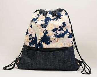Fabric backpack. Japanese bag. Cherry blossom print. Backpack with cord handles.