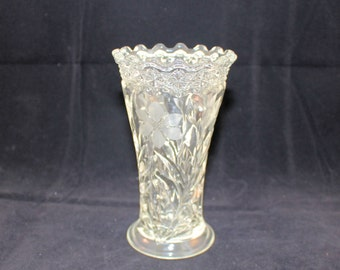 """Vintage Pressed Glass Vase With Etched Flowers 6"""" Tall by 3.5"""" Wide"""