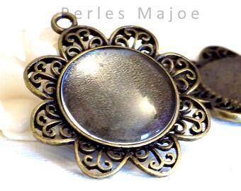 support pendentif en forme de fleur couleur bronze avec cabochon en verre de 25 mm