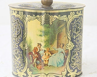 Lovely Vintage  Tin, Canister with Love Story Decor