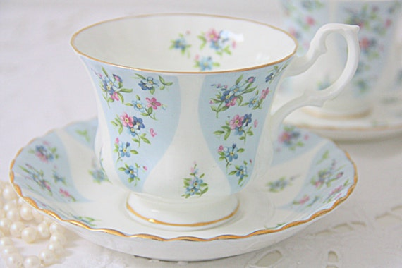 Set of Two Vintage Royal Albert Bone China 'Gaiety' Cup and Saucers from the Debutante Series, Lady and Gentleman Size, England