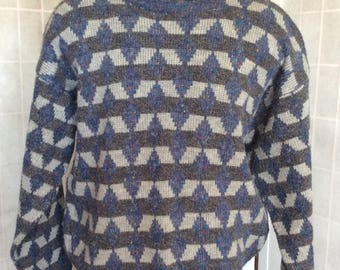 Vintage 80-90s Pullover Sweater W/ Geometric Patterns by Segments Size Large