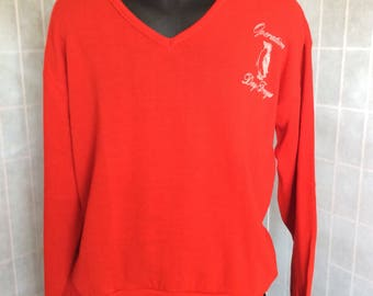 """Vintage 1980s Red V-Neck Sweater """"Operation Deep Freeze"""" W/ Penguin By Creslan-Rayon Size XL"""