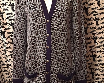 Vintage 1980s St. John Marie Gray Sweater Dress Open Front Cardigan Silver Navy Geometric Print Retro Preppy Boho