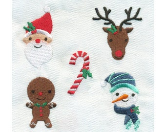 5 Christmas Mini Designs Embroidery Designs - Santa, Reindeer, Candy Cane, Gingerbread Man, Snowman - Instant Digital Download