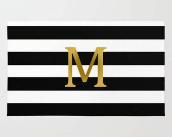 Personalized Monogram Gold Initial Letter Custom Area Rug Black and White Stripes stripped