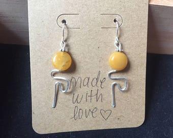 Yellow/orange Beaded Earring