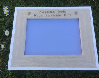Awesome Dads Have Awesome Kids Laser Engraved  Picture Frame, Father's Day Gift, Dad's Birthday, Gifts For Him