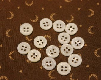 """7/16"""" 4 hole, white Mother of Pearl Buttons- 1 dozen"""
