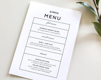 Modern Wedding Menu   Simple Wedding Menu, Simple Dinner Menu, Bold Modern Design, Custom Modern Menu, Menu template, Black and white menu