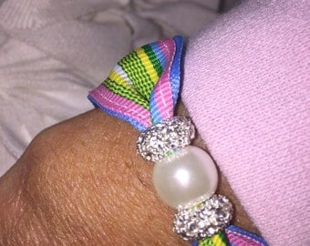 Preppy Pink and Green striped Magnetic Pearl and Rhinestone Bracelet