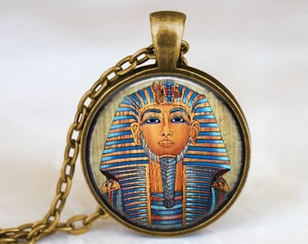 Tutankhamun Egyptian Pharaoh - Handmade Pendant Necklace