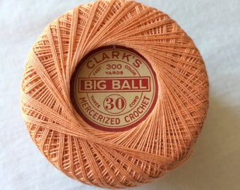 Big Ball Cotton Crochet Thread Size 30, 200+ yards by Clark's - Color 128 Peach - Crochet, Tatting, Knit, Lace, Needlepoint