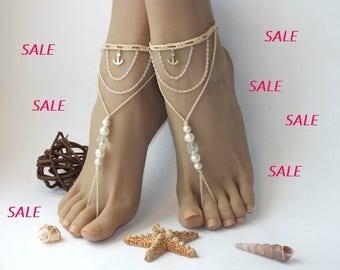 SALE 20% OFF, Anchor barefoot sandals,beach wedding barefoot sandals,beaded barefoot sandals,anchor anklet