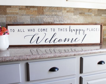 Welcome Wood Sign - Welcome Wooden Sign - Custom Sign - Farmhouse Wood Sign - Framed Sign - Fixer Upper Sign - Rustic Welcome Sign