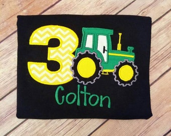 Farming Tractor Birthday shirt. Can do for boy or girl and any age. Pick your fill and thread color!