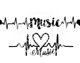Music EKG Heartbeat SVG DXF Cut Files for Cameo, Cricut, Design for Musicians, Music Lovers, Band, Music Teachers, Pianist, Rockstars, Heart