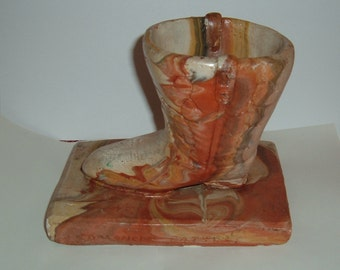 Comanche Marbled Pottery Cowboy Boot Planter. Bookend. Paperweight. Door Stop