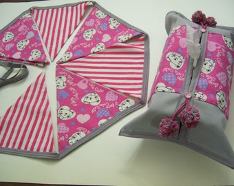 CATS BUNTING - pink & grey bunting banner sets - cats garland - cats bunting sets - cats home decor - cats decor - cats kleenex box