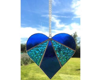 Handmade stained glass blue love heart suncatcher decoration gift