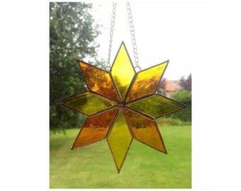 Stained Glass Orange and Yellow star suncatcher decoration