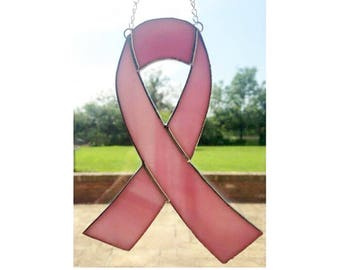 Stained Glass Cancer Research ribbon Suncatcher Decoration