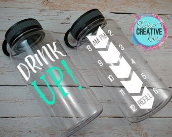 Drink Up!  Large 34 Oz Inspirational Workout Water Bottle | Water Intake Tracker | Bottle Color Options | Custom Colors | Great Gift