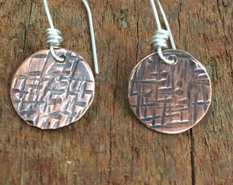 Hammered Copper Disc Earrings, Textured and Oxidized Copper Disc Earrings on Sterling Silver Ear Wires, handmade by Lonely Cove Jewellery