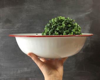 Vintage enamelware bowl white enamelware red antique french enamelware dishes vintage kitchen decor vintage decor vintage kitchenware red