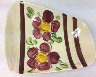 West Germany Flower Dish Vintage West Germany Ceramic Plate Flower Plate Flower Dish