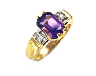 Amethyst & diamonds Dutch ring