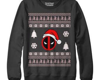 Deadpool Ugly Christmas Jumper Funny Super Hero Joke Xmas Sweater New S - Xxl