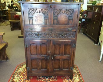 Vintage English Carved Wood Bar Cabinet