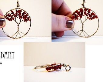 Red Coral Tree of Life Pendant