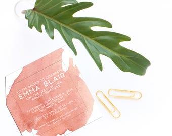 Bridal Shower Invitation - Baby Shower - Watercolor - Modern - Peach - Coral - Jen K Calligraphy