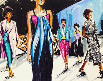 Original watercolor and ink fashion illustration created by Cris Clapp Logan