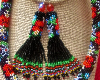 "Beaufitul Ukrainian handmade multicolor wildflower necklace ""Carmen"".Best birthday, anniversiry, wedding gift"