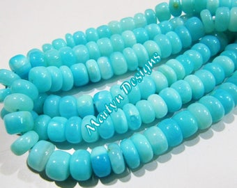 Natural Peruvian Opal Smooth beads best quality , Genuine Blue Opal Rondelle Plain Beads 9mm Sold Per Strand 13 inch Long